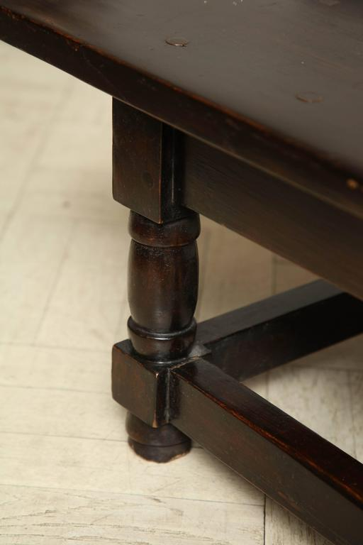 Late 19th Century Mahogany Bench, Turned Legs with Cross Stretcher For Sale 1