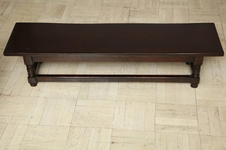 Late 19th Century Mahogany Bench, Turned Legs with Cross Stretcher For Sale 2