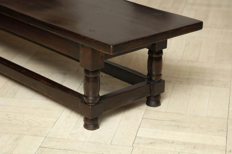 Late 19th Century Mahogany Bench, Turned Legs with Cross Stretcher For Sale 3
