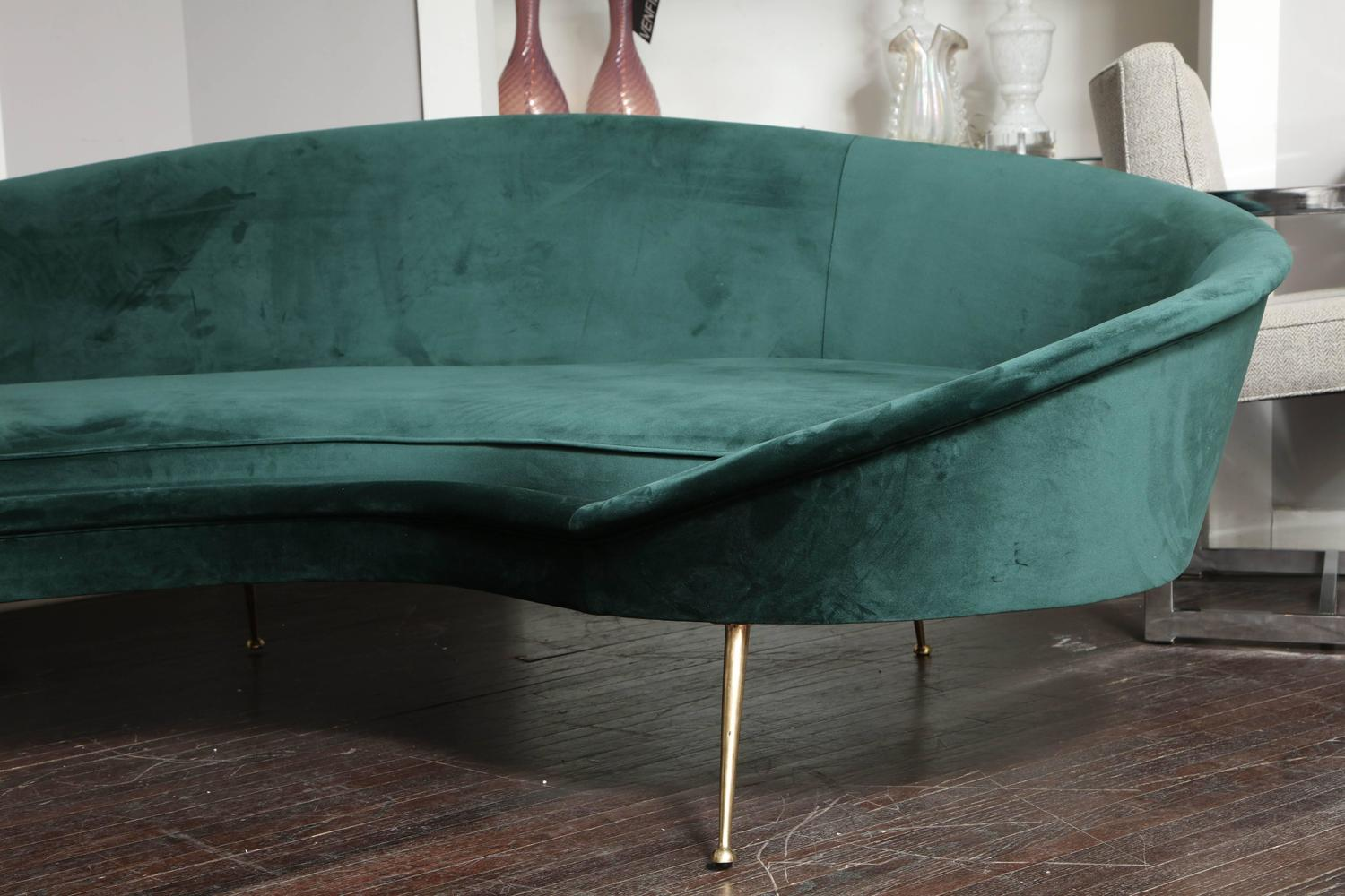 Italian Green Velvet Sofa in the Style of Ico Parisi at 1stdibs