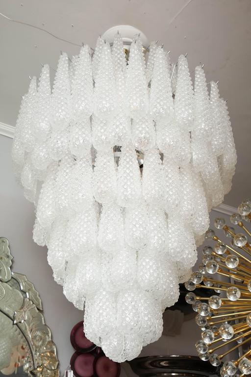 Italian Gorgeous Murano Honeycomb Glass Pendant Chandelier For Sale