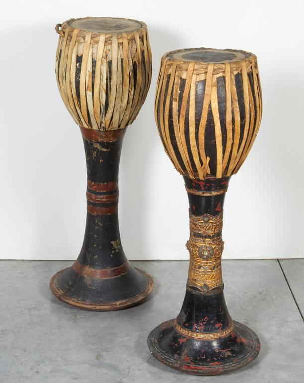 Vintage Ceremonial Hill Tribe Drums from Thailand In Good Condition For Sale In New York, NY