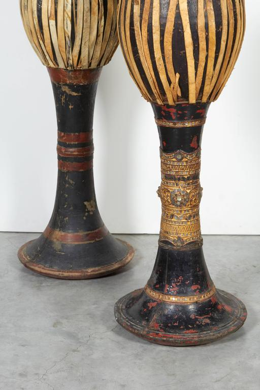 20th Century Vintage Ceremonial Hill Tribe Drums from Thailand For Sale