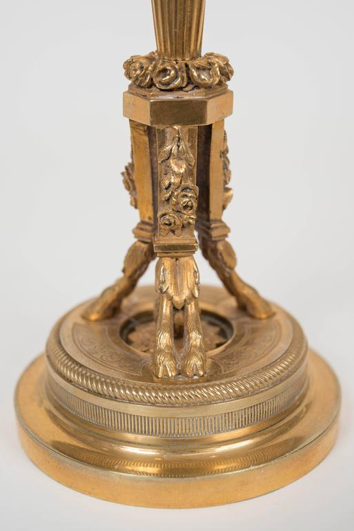 Pair of 20th Century Neoclassical Style Gilt Bronze Candlesticks For Sale 1