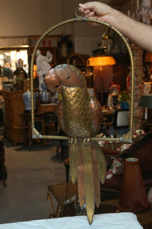 Eye-catching scale, a fine whimsical brass and copper rendition appointed with glass eyes.