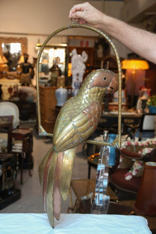 Brass Enormous Bustamante Style Figure of a Parrot For Sale