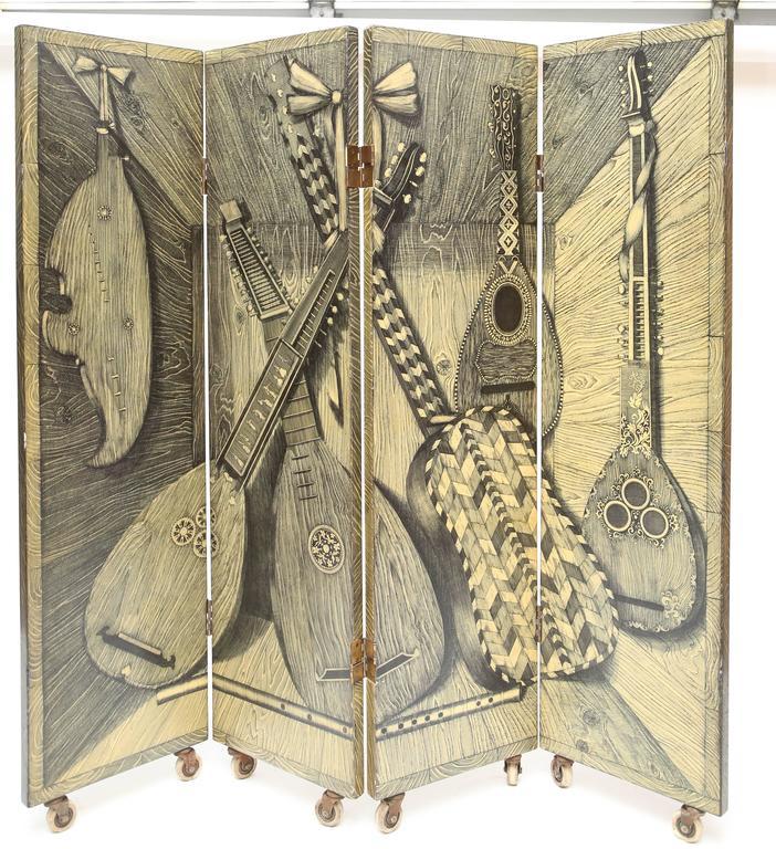 Vintage Piero Fornasetti Strumenti Musical or Libri Screen For Sale 1