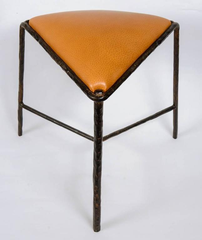 Pair Of Wrought Iron Stools For Sale At 1stdibs