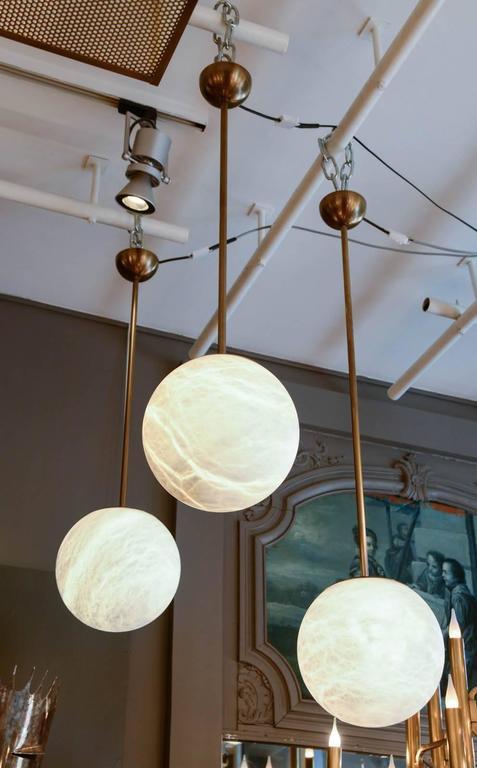 Alabaster And Br Globes Pendant