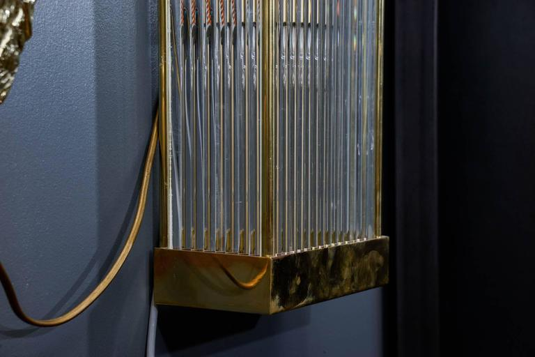 Late 20th Century Set of Six Brass and Glass Rods Rectangle Wall Sconces For Sale