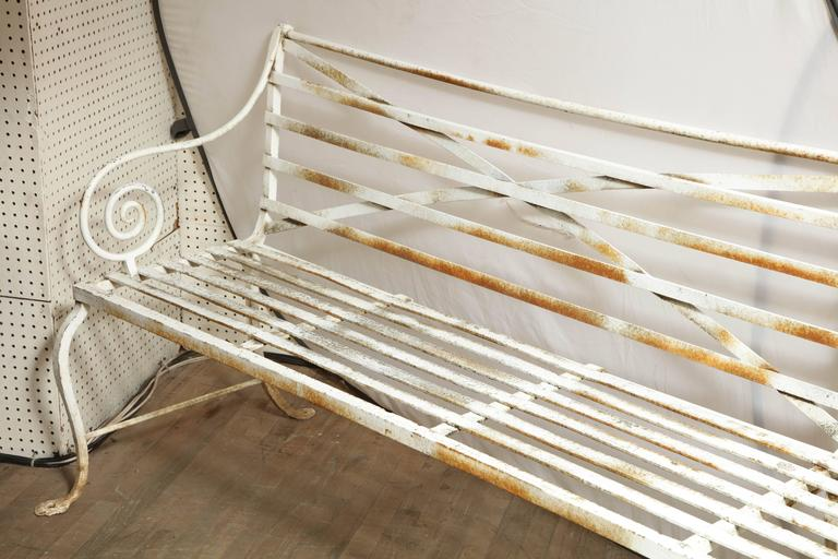 19th Century Long Wrought Iron Bench For Sale