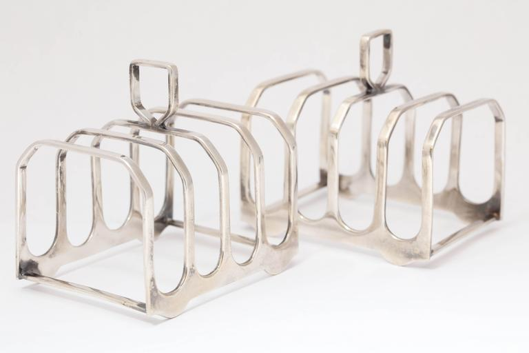 English Edwardian-Style Pair of Sterling Silver Toast Racks For Sale