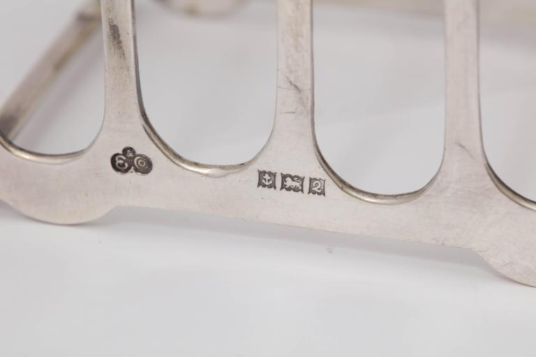 Mid-20th Century Edwardian-Style Pair of Sterling Silver Toast Racks For Sale