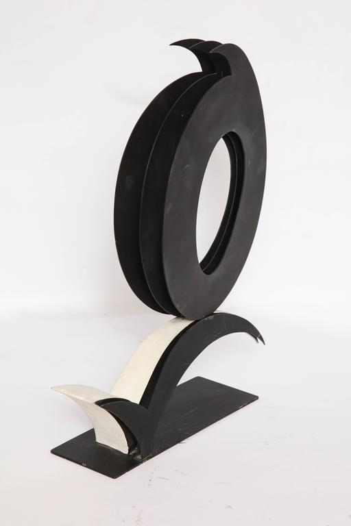 Mid-Century Modern Abstract Sculpture Steel Signed Harriet Feigenbaum 1960s Title Void For Sale