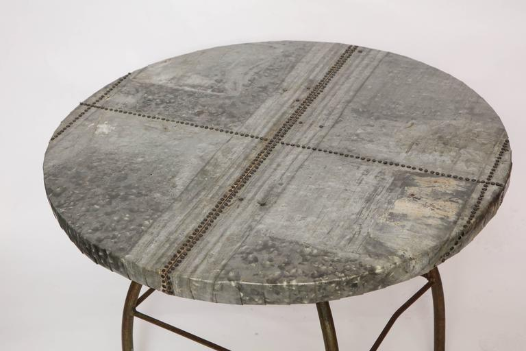 American Brutalist Table with Handcrafted Metal Top and Industrial Adjustable Base For Sale