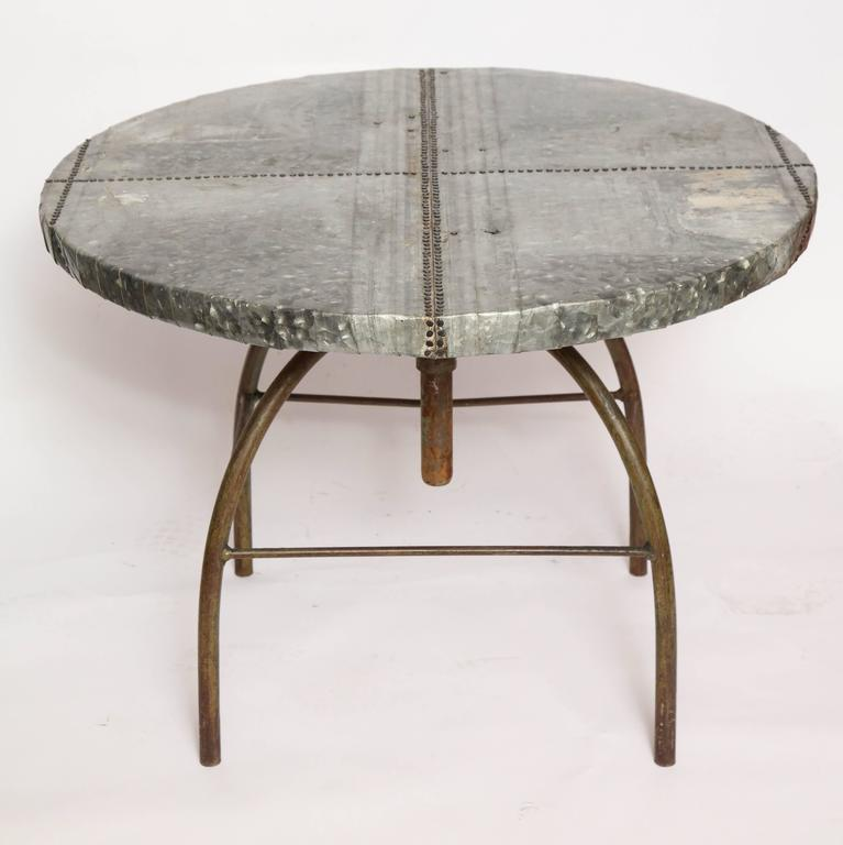 Brutalist Table with Handcrafted Metal Top and Industrial Adjustable Base In Excellent Condition For Sale In New York, NY