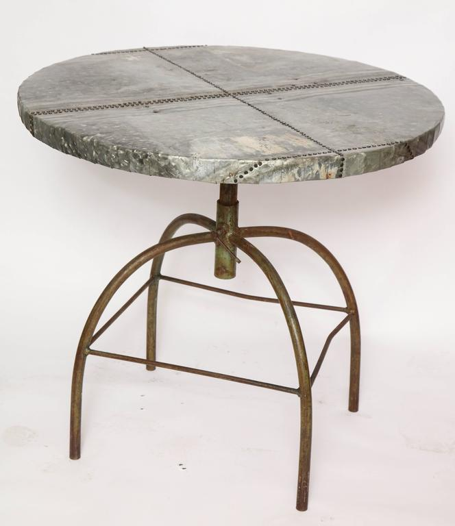 Late 20th Century Brutalist Table with Handcrafted Metal Top and Industrial Adjustable Base For Sale