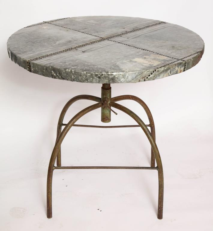 Brutalist Table with Handcrafted Metal Top and Industrial Adjustable Base For Sale 1