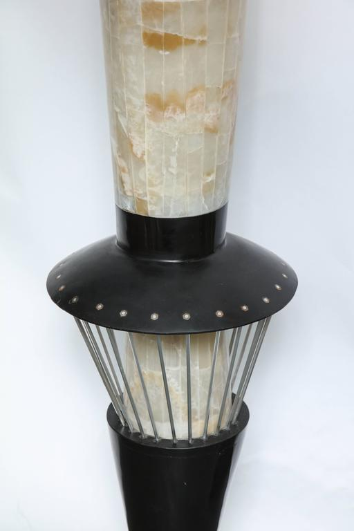 Polished Italian Futurist Monumental Torchère Floor Lamp Marble, Italy, 1950s For Sale