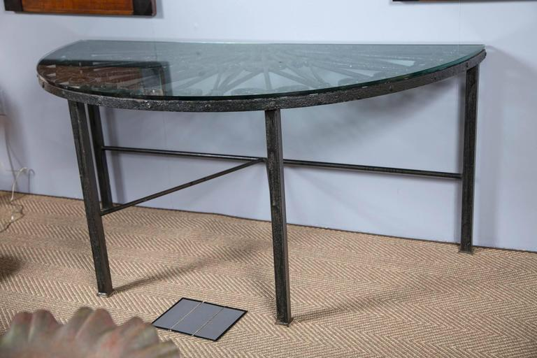 Vintage Iron Grate Used In Creating This Lovely Half Round Table With Gl Top