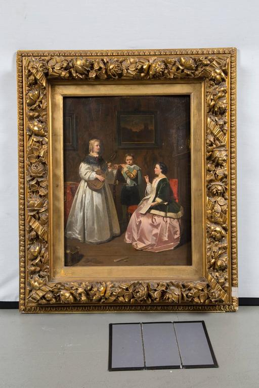Lovely antique Dutch painting in gold leaf frame.