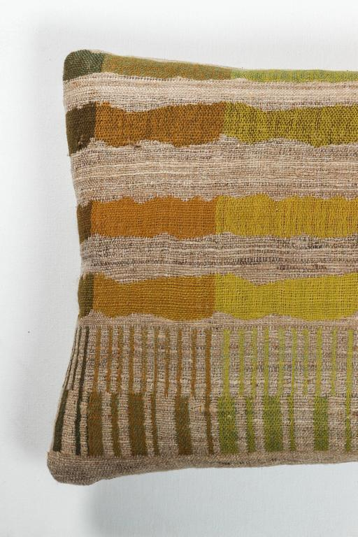 Indian Handwoven Lumbar Pillow In Orange Yellow Green