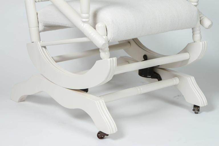 18th Century Antique Spring Rocking Chair with Custom Embroidery on Vintage Linen For Sale