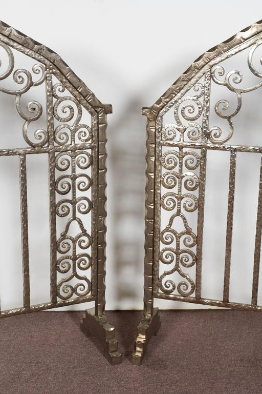 Pair of Important Art Deco Nickeled Hand-Hammered Iron Fire Screens, Signed For Sale 2