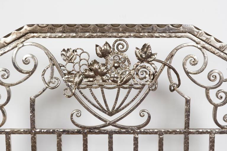 Belgian Pair of Important Art Deco Nickeled Hand-Hammered Iron Fire Screens, Signed For Sale