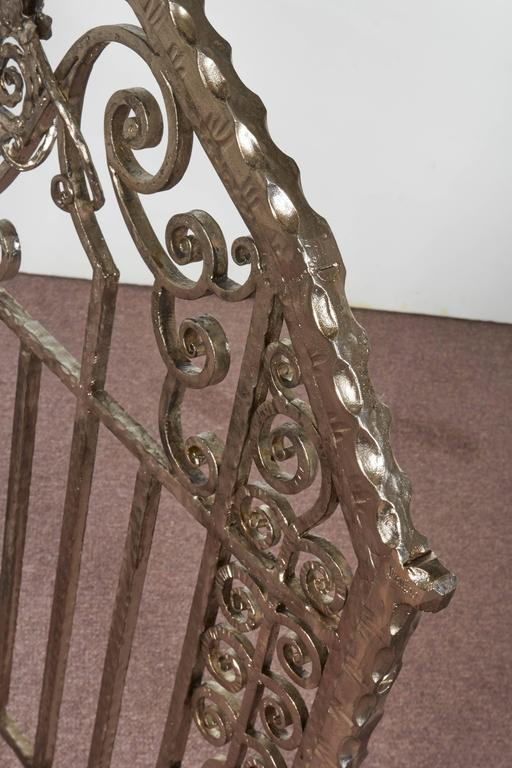 Pair of Important Art Deco Nickeled Hand-Hammered Iron Fire Screens, Signed For Sale 1