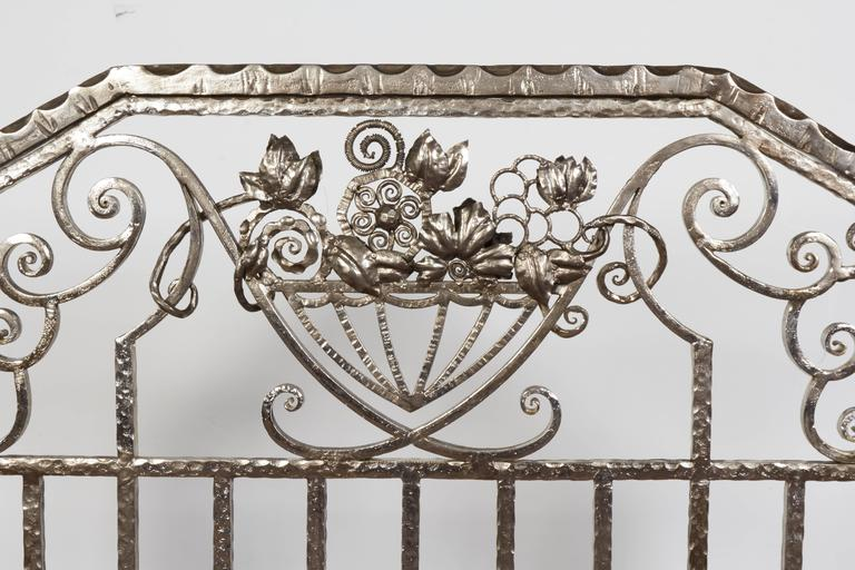 Pair of Important Art Deco Nickeled Hand-Hammered Iron Fire Screens, Signed For Sale 3