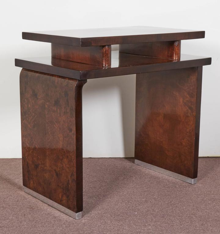 20th Century French Art Deco Burl Walnut Occasional or Side Table For Sale