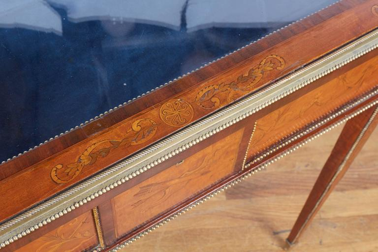 French Marquetry Brass Mounted Neoclassical Bijouterie Table For Sale 1