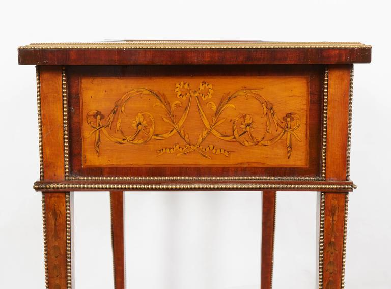 French Marquetry Brass Mounted Neoclassical Bijouterie Table For Sale 4