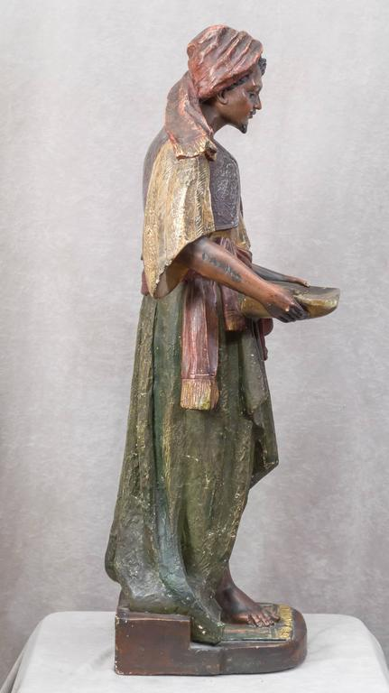 Large Plaster Sculpture of an Arab Merchant Holding a Tray For Sale 3