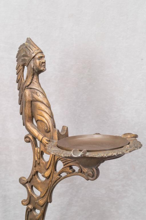 Beaux Arts Cast Iron Ash Tray or Cup Holder with an American Indian For Sale