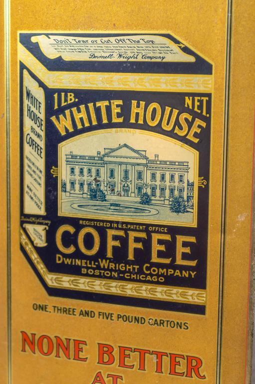 "Folk Art Tin Sign ""White House Coffee"" For Sale"