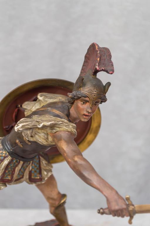 Belle Époque Vienna Bronze Figure of a Roman Warrior by Franz Bergmann For Sale