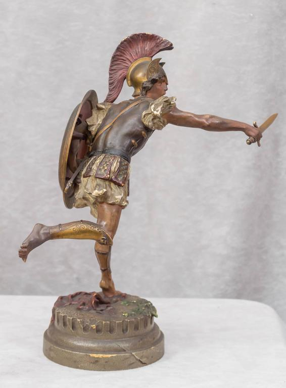 Austrian Vienna Bronze Figure of a Roman Warrior by Franz Bergmann For Sale
