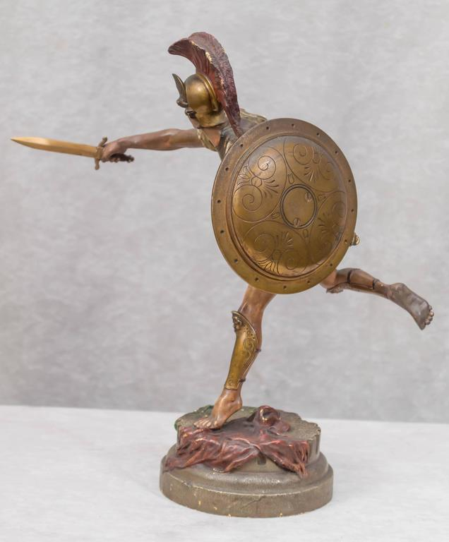 Cold-Painted Vienna Bronze Figure of a Roman Warrior by Franz Bergmann For Sale
