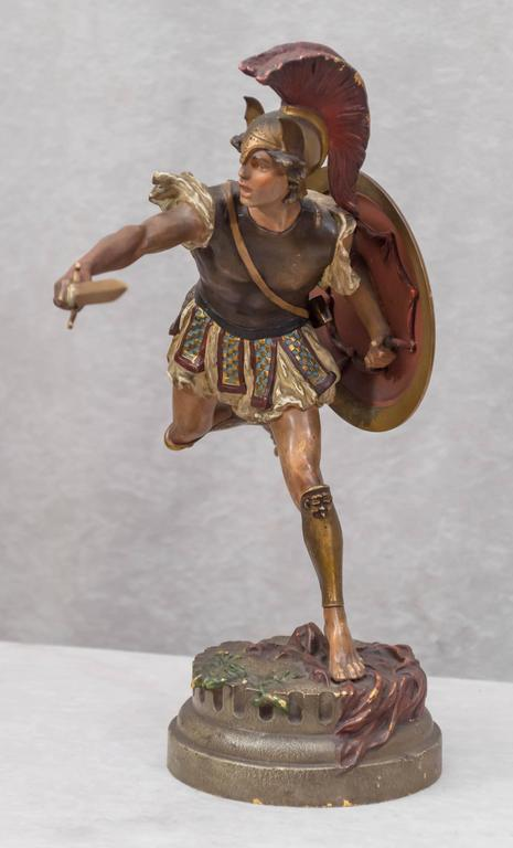Vienna Bronze Figure of a Roman Warrior by Franz Bergmann In Excellent Condition For Sale In Petaluma, CA