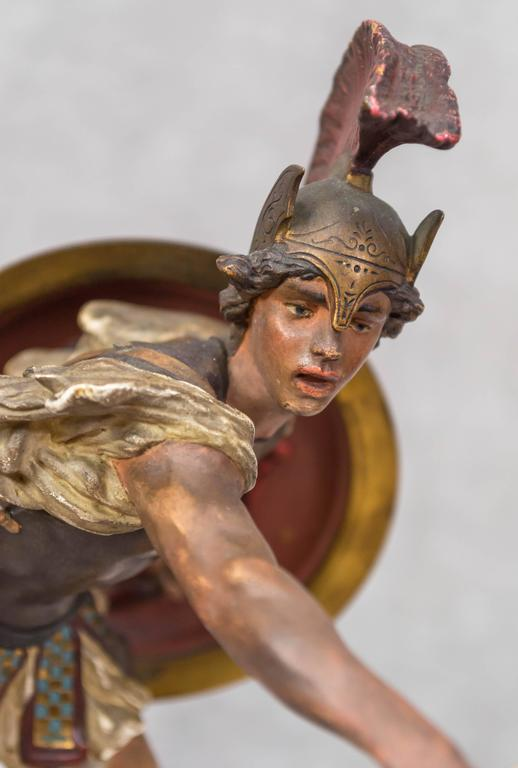 Vienna Bronze Figure of a Roman Warrior by Franz Bergmann For Sale 2