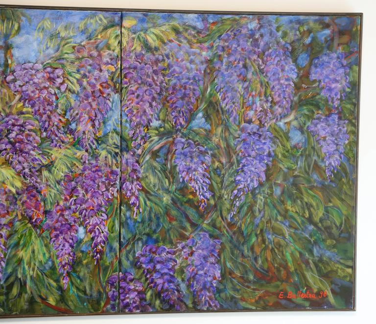 Expressionist E. Ballestra Oil Painting on Canvas Wisteria Branches For Sale