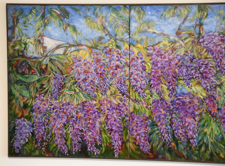 French E. Ballestra Oil Painting on Canvas Wisteria Branches For Sale