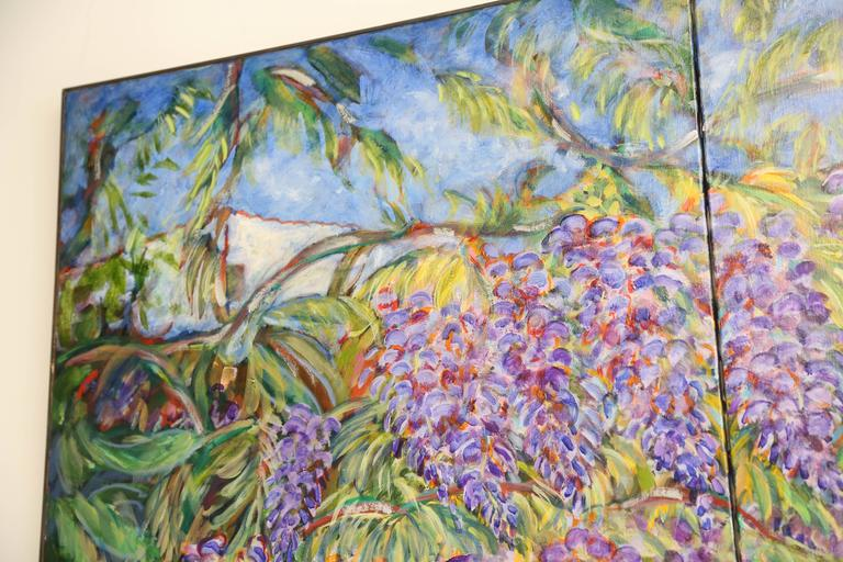 Oiled E. Ballestra Oil Painting on Canvas Wisteria Branches For Sale