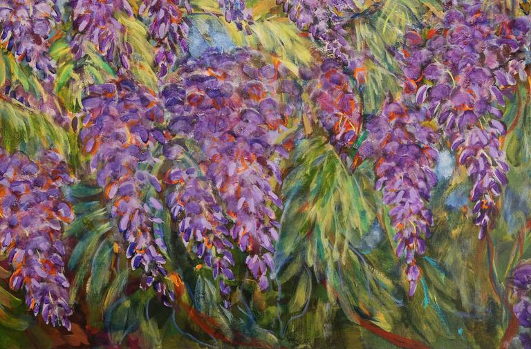 E. Ballestra Oil Painting on Canvas Wisteria Branches In Excellent Condition For Sale In Miami, FL
