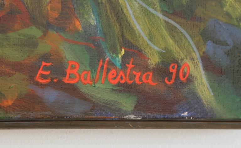 20th Century E. Ballestra Oil Painting on Canvas Wisteria Branches For Sale