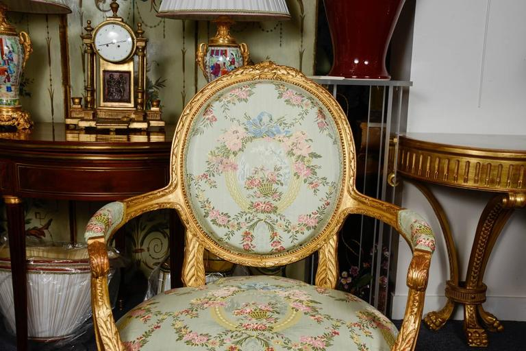 Gilded wood salon louis xvi style five pieces for sale at for Salon louis 16