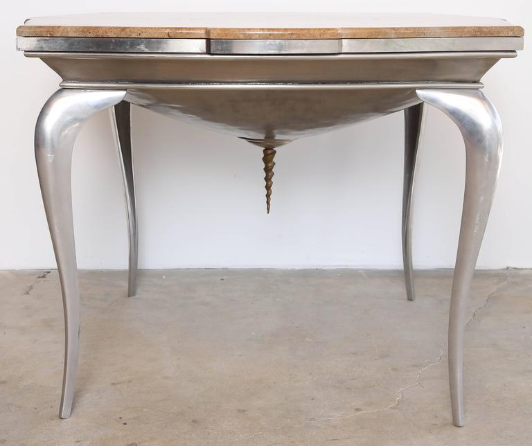 Neoclassical Revival Mark Brazier Jones Mid-Century Unique Signed Central Table Steel and Marble For Sale