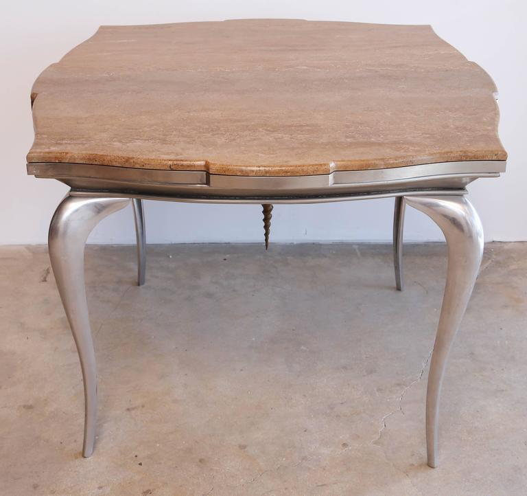 English Mark Brazier Jones Mid-Century Unique Signed Central Table Steel and Marble For Sale